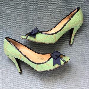 ☘️J. Crew Green Tweed Peep Toe Heels